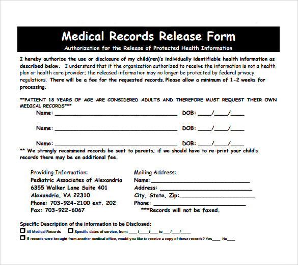 Printable Health Information Release Authorization Form