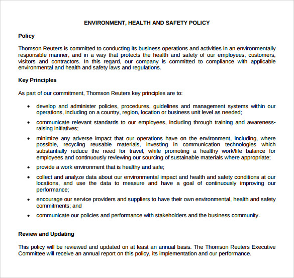 11 sample health and safety policy templates sample for Health and safety review template