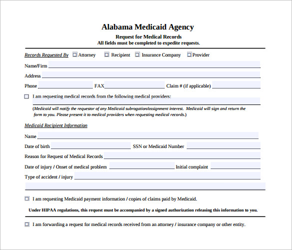request for medical records form