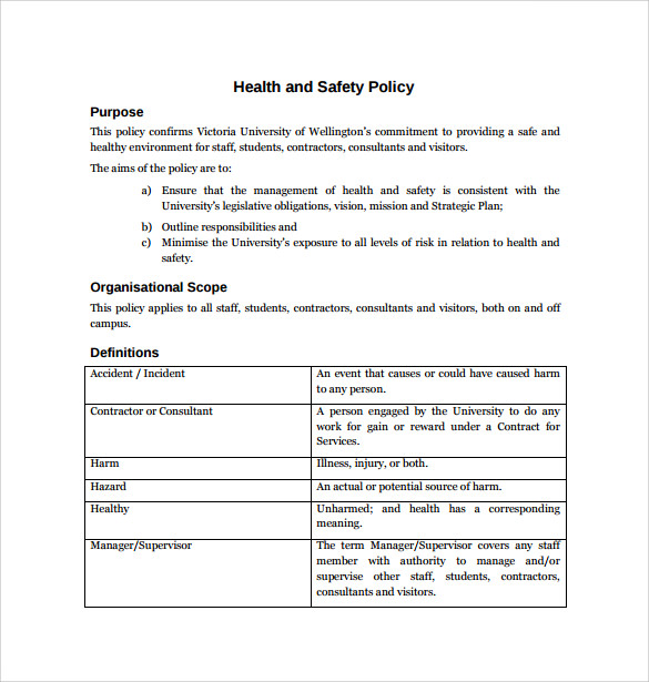health and safety policy example
