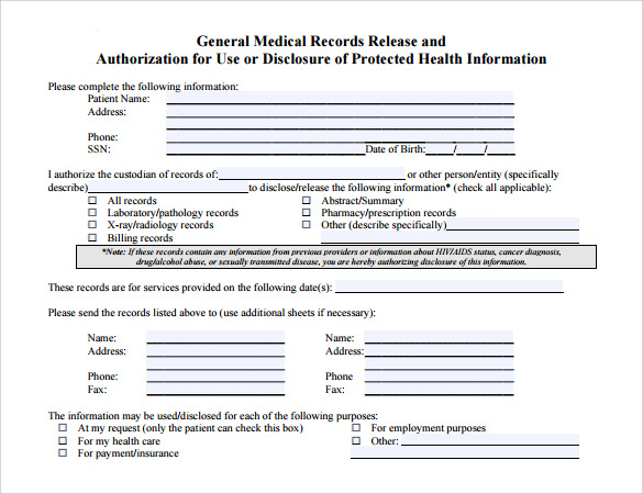Medical Release Form General Medical Records Release Form Medical