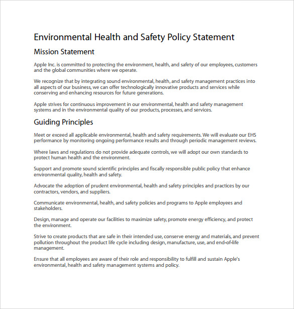 Health And Safety Policy Templates  Free Sample Example Format