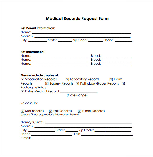 medical records release form free samples examples format - Medical Records Release Form