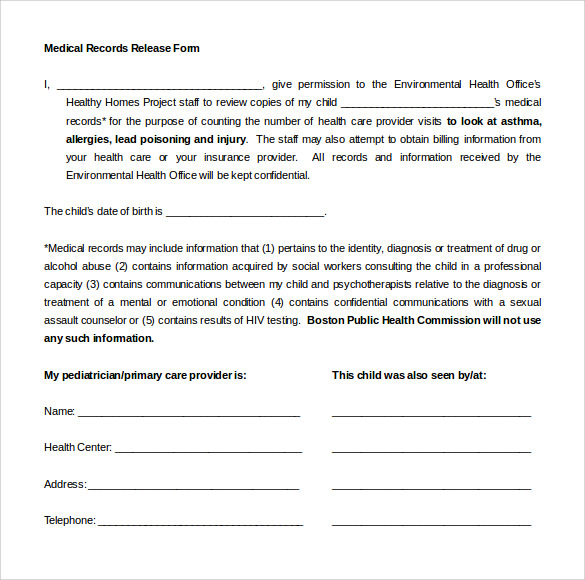 Medical Records Release Form   Free Samples Examples Format