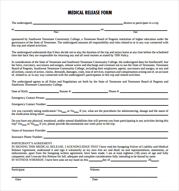 Medical Release Form   Free Samples Examples Formats