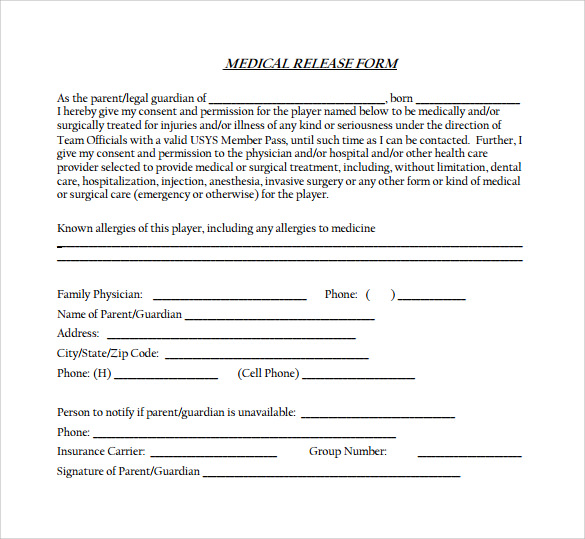 medical release form 11 free samples examples formats