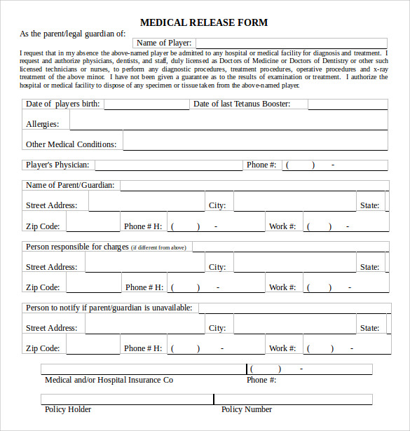 medical release form word