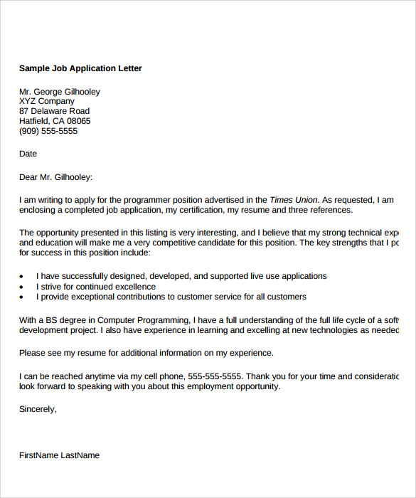 Application Of Employment Sample Letter