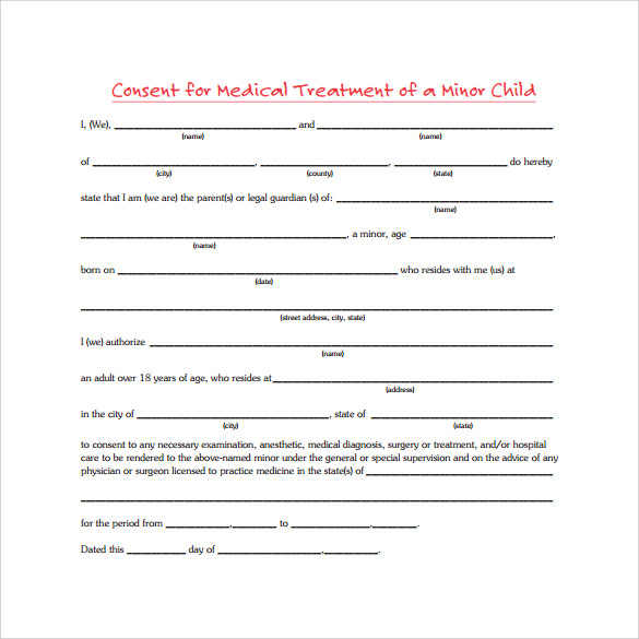 Child Medical Consent Forms Medical Consent Form For Grandparents