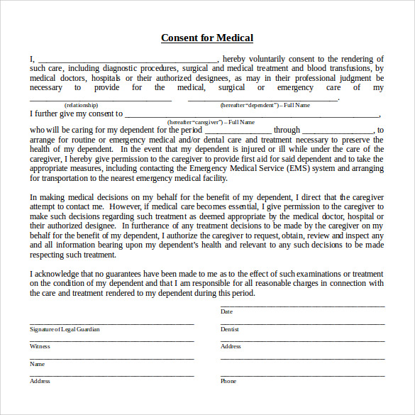 medical consent form word