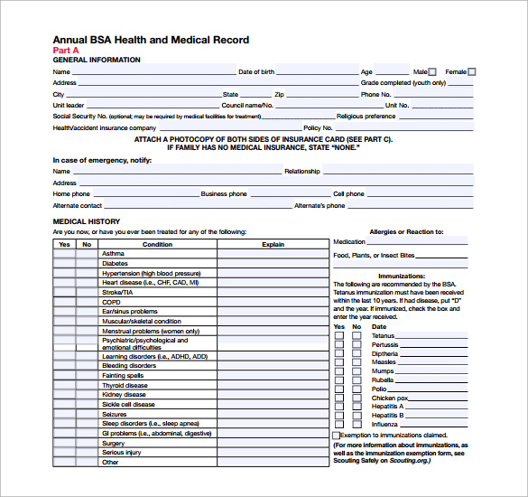 Bsa Medical Form - 8+ Free Samples, Examples, Format