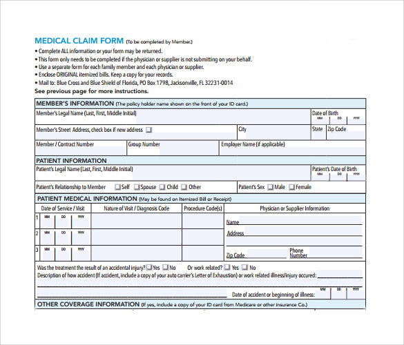 Medical Claim Form 14 Free Samples Examples Format – Medical Claim Form