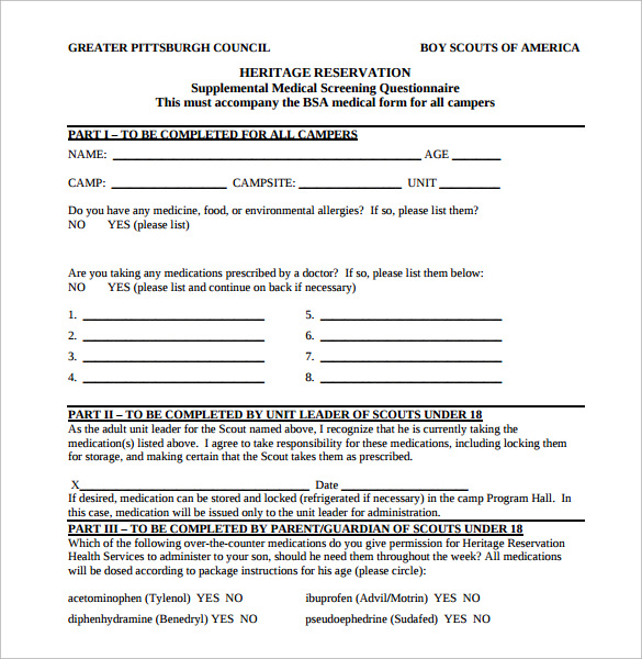Bsa Medical Form Student Health Medical Form Blank Medical Forms