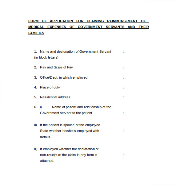 form of application for claiming