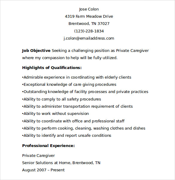 sample caregiver resume template     download free documents in    sample private caregiver resume