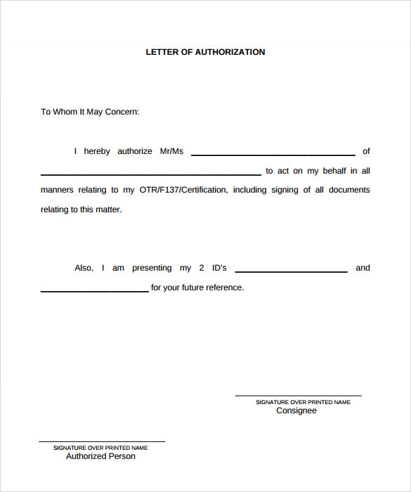 Example of Authorization Letter 7 Download Download in Word PDF – Sample Third Party Authorization Letter