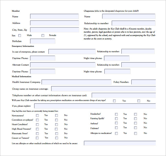 authorization form to attend and medical authorization