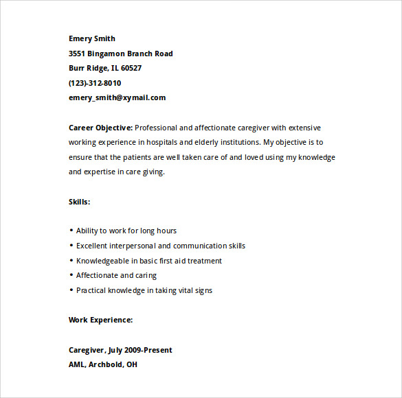 Sample Caregiver Resume Template - 7+ Download Free Documents in ...