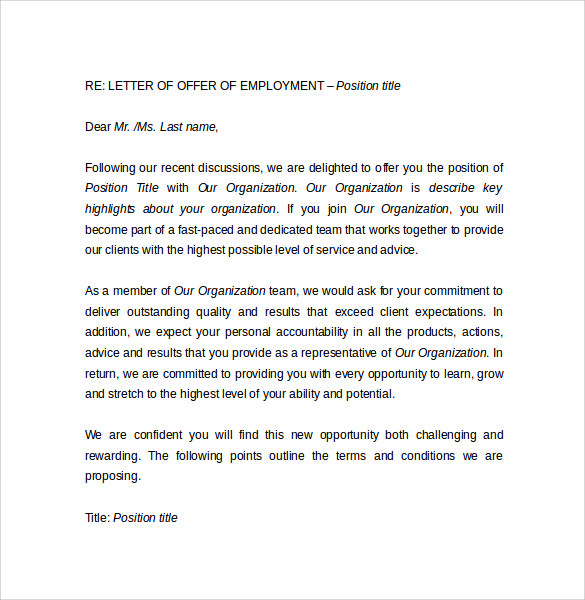 letter of offer of employment1