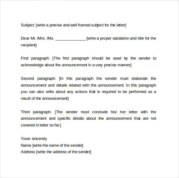 announcement letter format