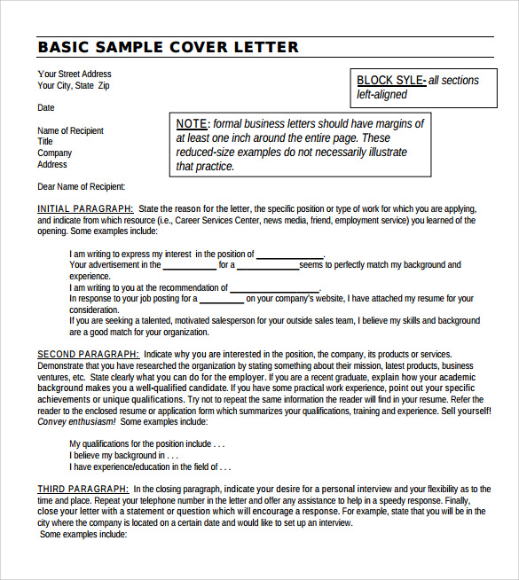 Sample Basic Letter Format 7 Download Documents in PDF Word – Sample Basic Letter Format