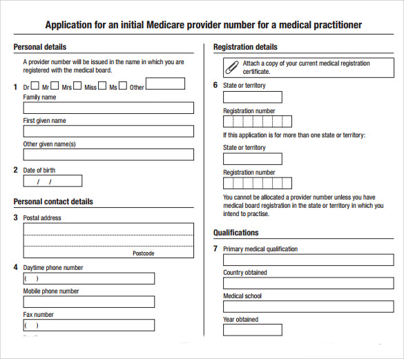 Good Application For An Initial Medical Form