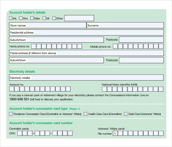 Beautiful Medical Cooling Concession Application Form