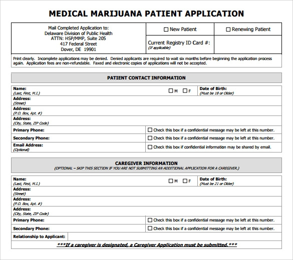 Free Medical Application Form