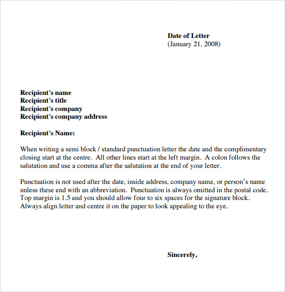 Sample Basic Letter Format