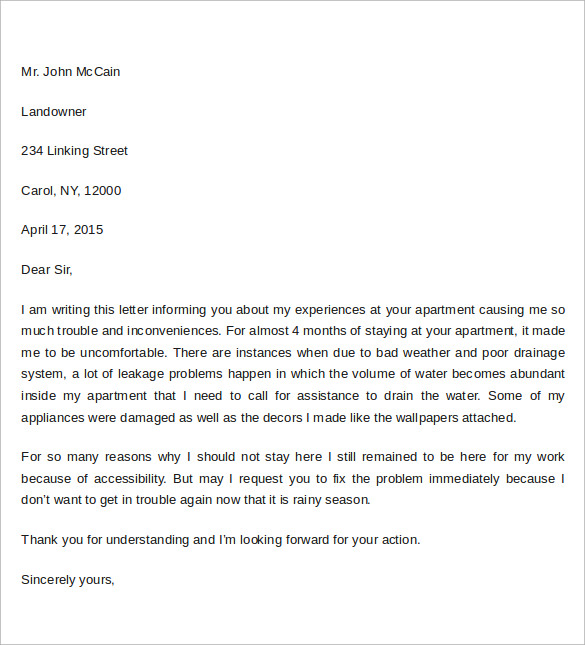 sample apartment complaint letter