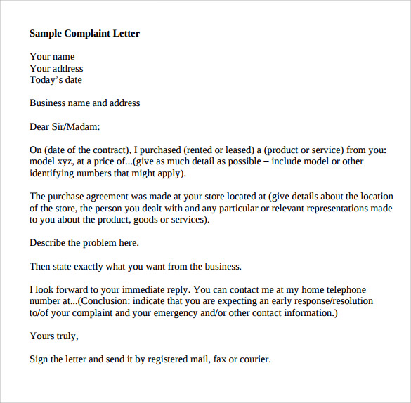 9 Sample Complaint Letter Format Templates to Download | Sample ...