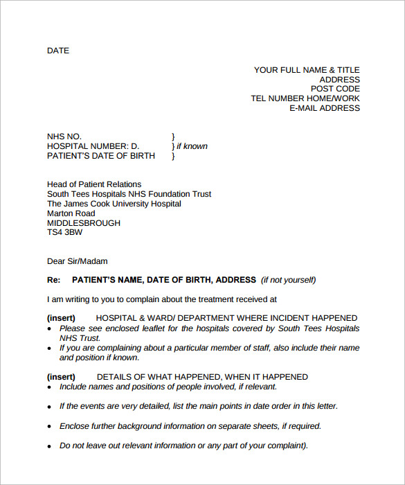 Sample Complaint Letter Format   Download Documents In Pdf  Word