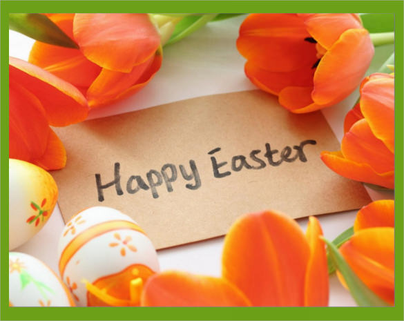 colourful easter post card