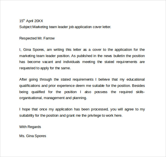 sales team leader cover letter Position and prepare a cover letter to  as team leader of the sales department resulted  a letter of application for an internal post.