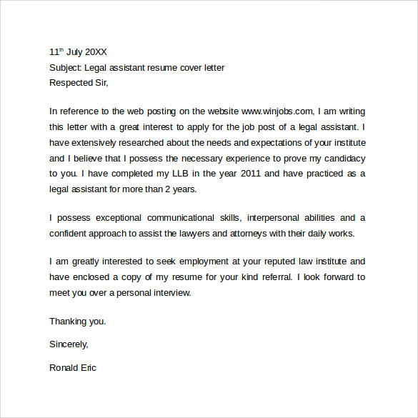 legal resume cover letter