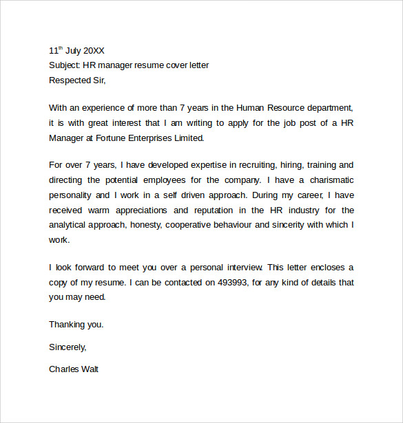 human resource cover letter samples - Cover Letter To Hr Department