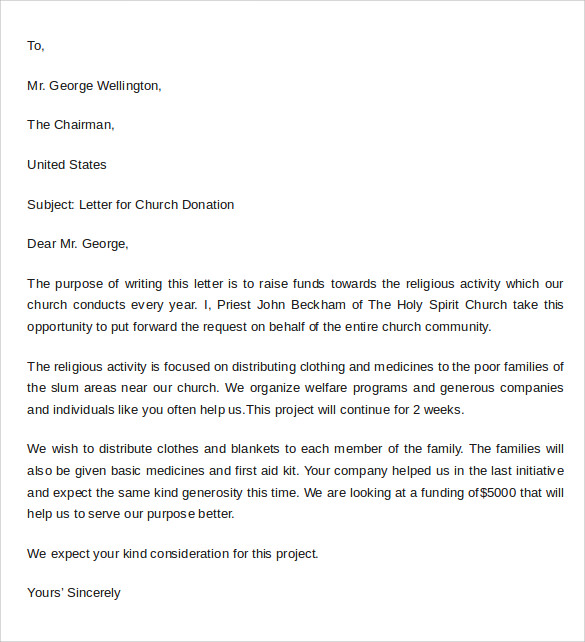 sample donation letter format example