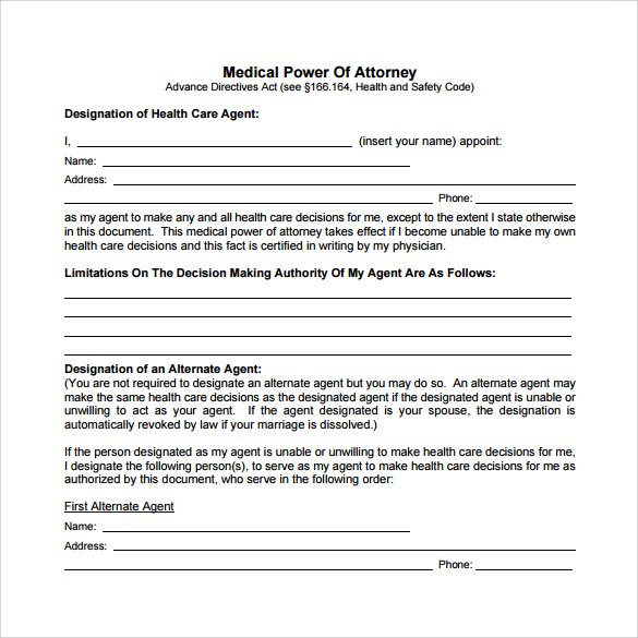 Free 10 Sample Medical Power Of Attorney Forms In Pdf Ms Word