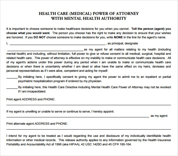 Sample Medical Power Of Attorney Form   Free Documents In Pdf