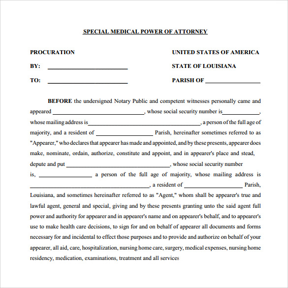 Sample Medical Power Of Attorney Form 10 Free Documents In Pdf Word