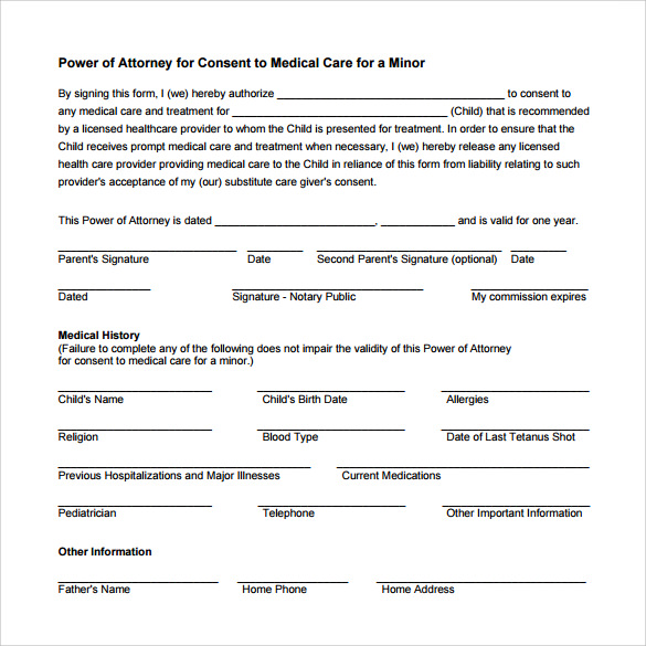 Free Medical Power Of Attorney Form Dinosauriensfo