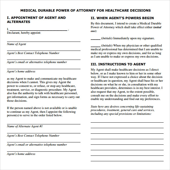 medical power of attorney sample