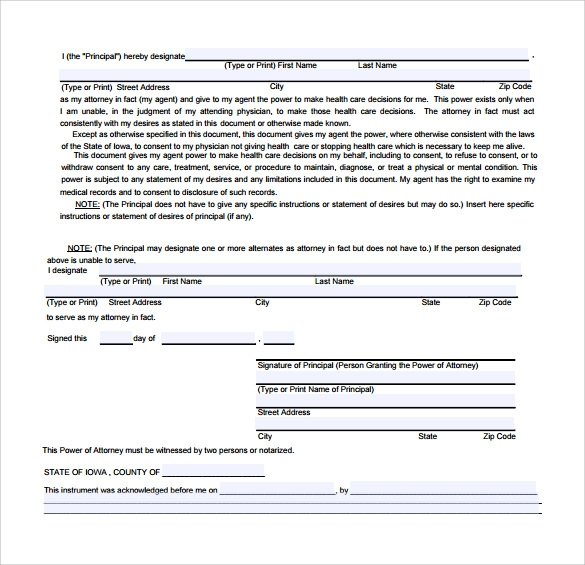 medical power of attorney form to print
