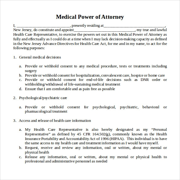 medical power of attorney word
