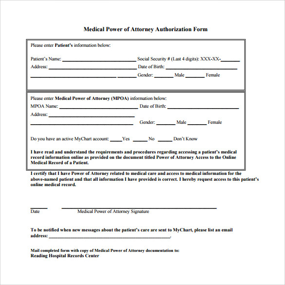 Medical Power Of Attorney Template | Medical Power of Attorney Form Template
