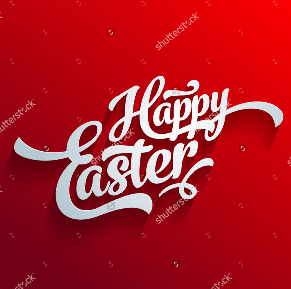 red background easter greeting card