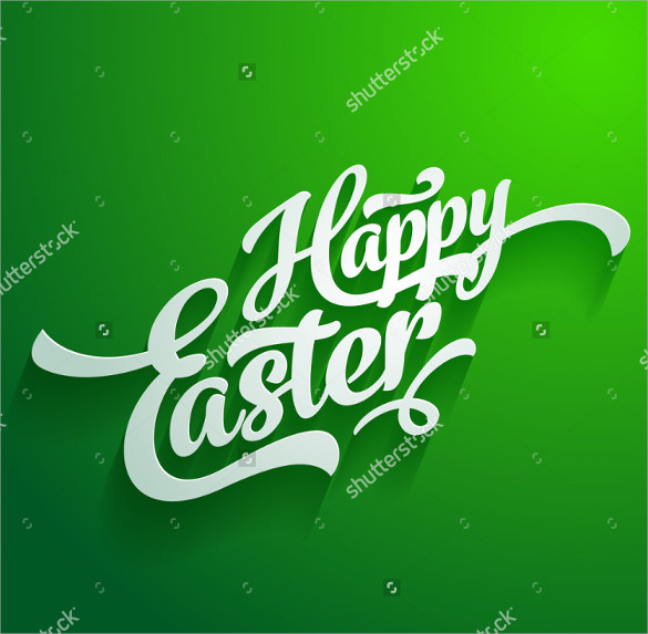 green background easter greeting card template