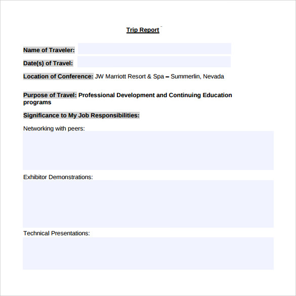 Conference Report Template Sample Financial Summary Report Template