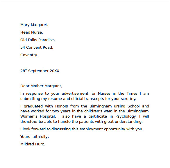 Sample Cover Letter Applying For A Job Samples Of Resume: Employment Cover Letter Template