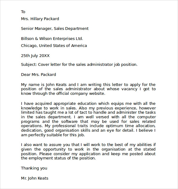 Sales-Administrator-Cover-Letter-Example Template Application Letter For Employment on application letter for job vacancy, sample job application template, application letter for employment at office, application for employment letter pdf, application format for nurse, employment contract template, application letter for cashier, application letter for any position, request for proposal letter template, letter asking for donations template, application cover letter, blank employment application template, standard application for employment template, application letter for teacher, simple employment application template, application form, credit application template, application letter for administrative assistant, application letter sample,